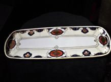VINTAGE LARGE GILDED NORITAKE CHINA SANDWICH TRAY END HANDLES COBALT RUST BEADED